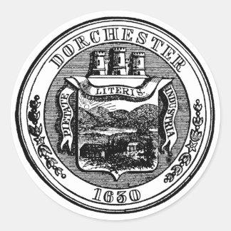 Seal of Dorchester Massachusetts, black Round Sticker