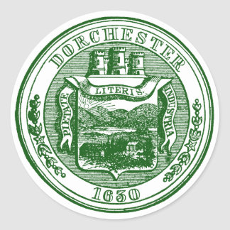 Seal of Dorchester Massachusetts, green Round Sticker