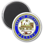 Seal of Houston 6 Cm Round Magnet