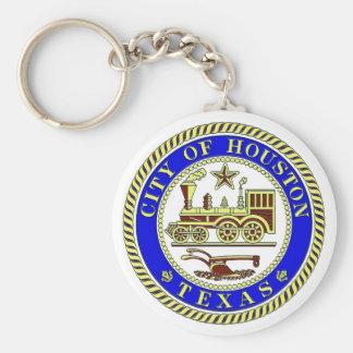 Seal of Houston Basic Round Button Key Ring