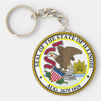 Seal of Illinois Basic Round Button Key Ring