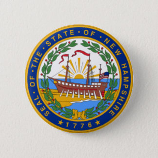 SEAL OF NEW HAMPSHIRE 6 CM ROUND BADGE