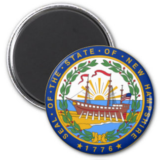 SEAL OF NEW HAMPSHIRE 6 CM ROUND MAGNET
