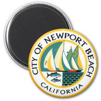 Seal of Newport Beach, California 6 Cm Round Magnet