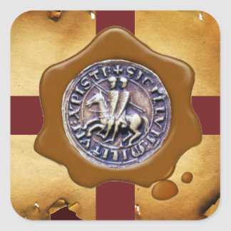 SEAL OF THE KNIGHTS TEMPLAR,  Brown Wax ,Parchment Square Stickers
