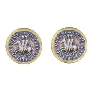 SEAL OF THE KNIGHTS TEMPLAR GOLD FINISH CUFF LINKS