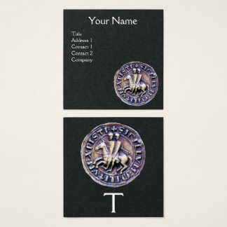 SEAL OF THE KNIGHTS TEMPLAR MONOGRAM Black Paper Square Business Card