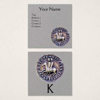 SEAL OF THE KNIGHTS TEMPLAR MONOGRAM Grey Paper Square Business Card