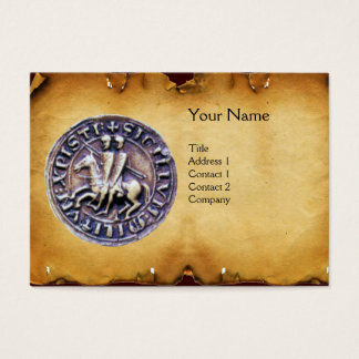 SEAL OF THE KNIGHTS TEMPLAR MONOGRAM parchment Business Card