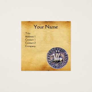 SEAL OF THE KNIGHTS TEMPLAR MONOGRAM parchment Square Business Card