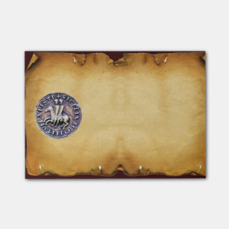 SEAL OF THE KNIGHTS TEMPLAR parchment Post-it Notes
