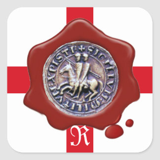 SEAL OF THE KNIGHTS TEMPLAR,  Red Wax Monogram Square Sticker