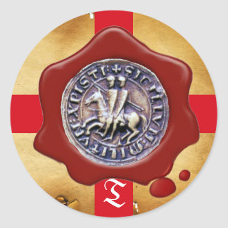 SEAL OF THE KNIGHTS TEMPLAR,  Red Wax Monogram Stickers