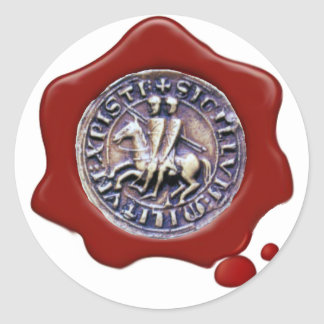 SEAL OF THE KNIGHTS TEMPLAR,  Red Wax ,White Round Stickers