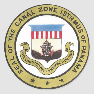 SEAL OF THE PANAMA CANAL ZONE ROUND STICKER