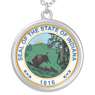 Seal of the State of Indiana Silver Plated Necklace