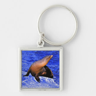 Seal on Rock with Deep Blue Sea Key Ring
