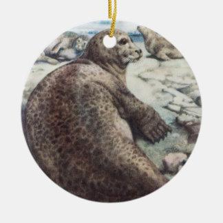 Seal On The Beach Round Ceramic Decoration