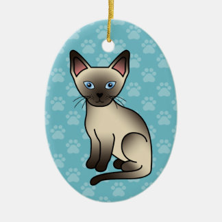 Seal Point Siamese Cat Ceramic Oval Decoration