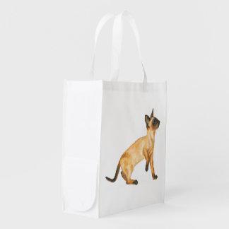 seal point siamese kitten reusable grocery bag