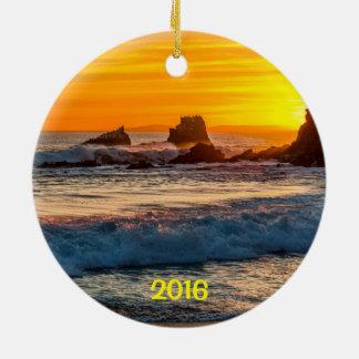Seal Rock Laguna Beach Round Ceramic Decoration