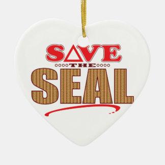 Seal Save Ceramic Heart Decoration