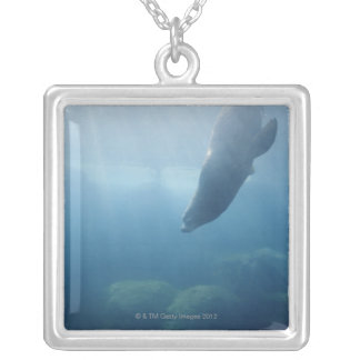 Seal swimming under the water silver plated necklace