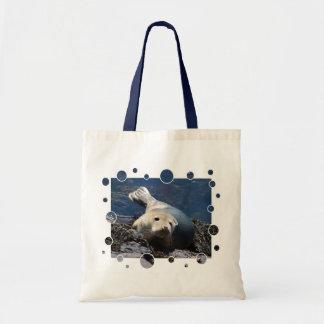 Seal, with bubbles design canvas bag