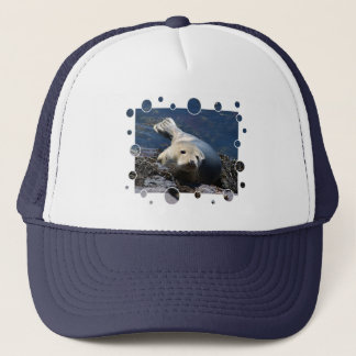 Seal, with bubbles design trucker hat