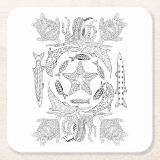 Sealife Adult Coloring Paper Coaster