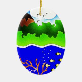 Sealife Cute tropical island Ceramic Oval Decoration