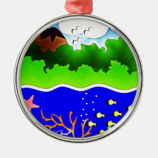 Sealife Cute tropical island Silver-Colored Round Decoration