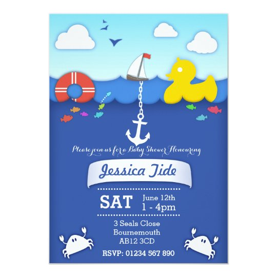 Sealife nautical Baby shower custom Invitation