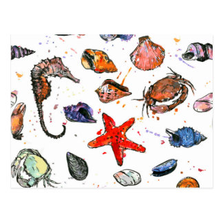 Sealife's Watercolors Postcard