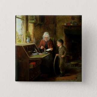 Sealing a Letter, 1890 (oil on panel) 15 Cm Square Badge
