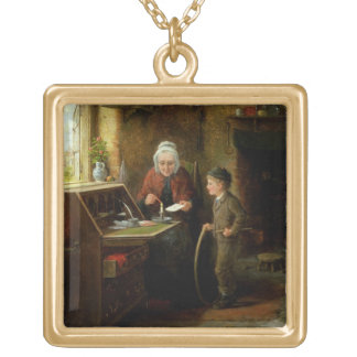 Sealing a Letter, 1890 (oil on panel) Square Pendant Necklace