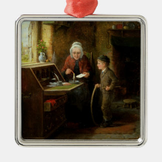 Sealing a Letter, 1890 (oil on panel) Silver-Colored Square Decoration