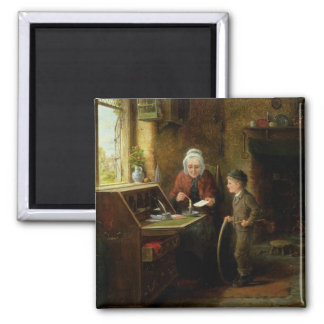 Sealing a Letter, 1890 (oil on panel) Square Magnet
