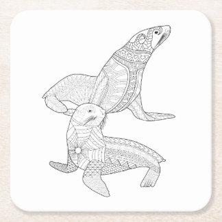 Seals Adult Coloring Paper Coaster