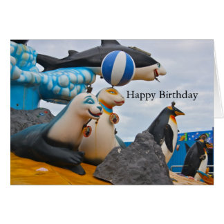 Seals and Penguins at a Funfair Happy Birthday Greeting Card