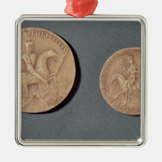 Seals of Charles I  of Anjou Silver-Colored Square Decoration