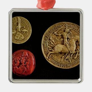 Seals of Gilles de Laval  Lord of Rais Silver-Colored Square Decoration