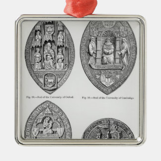 Seals of the Universities Silver-Colored Square Decoration