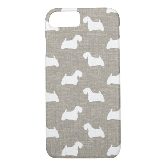 Sealyham Terrier Silhouettes Faux Linen Style iPhone 7