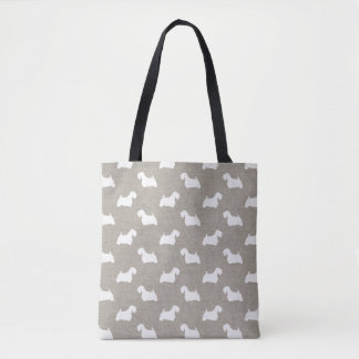 Sealyham Terrier Silhouettes Pattern Tote Bag