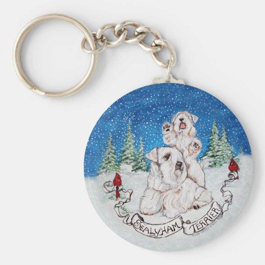Sealyham Terrier Winter Key Ring