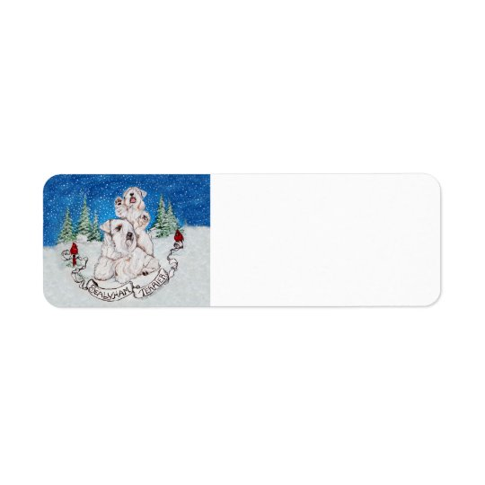 Sealyham Terrier Winter Return Address Label