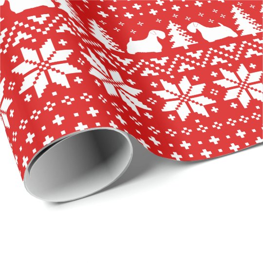 Sealyham Terriers Christmas Pattern Red Wrapping Paper