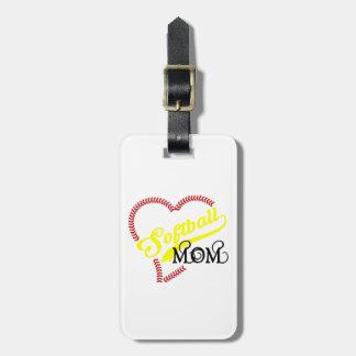 Seam Stitch Heart Softball Mom Seams Luggage Tag