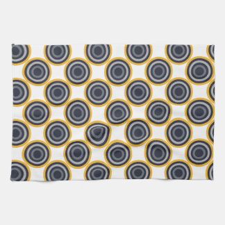 Seamless Abstract Navy Blue, Gray,Yellow Circles Tea Towel